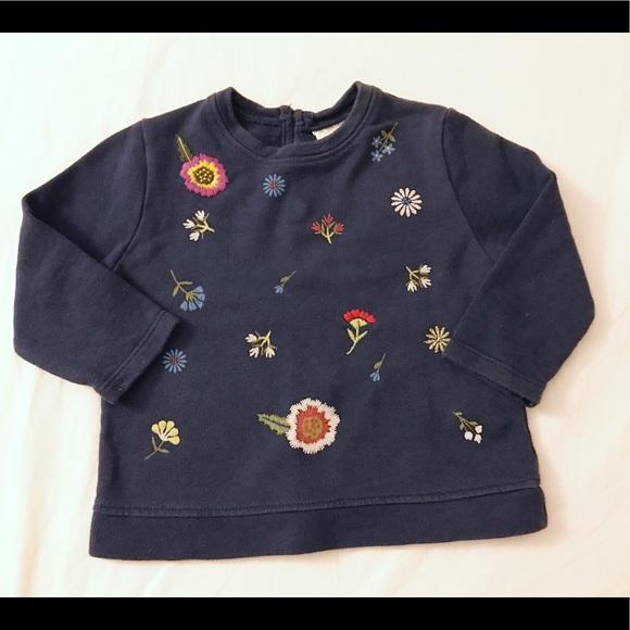 Zara Baby Girl Navy blue Floral Sweatshirt a17b99491ff